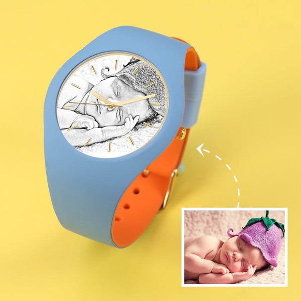 Waterproof Silicone Engraved Photo Watch 41mm Orange And Blue Bands for men women kids-Sketch