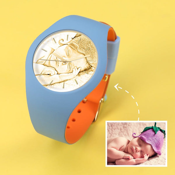 Waterproof Silicone Engraved Photo Watch 41mm Orange And Blue Bands for men women kids-Golden