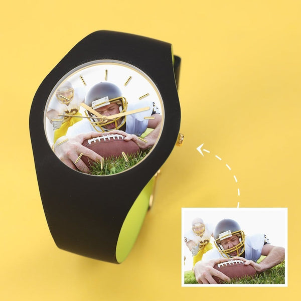 Unisex Silicone Engraved Photo Watch Black And Green Strap 41mm