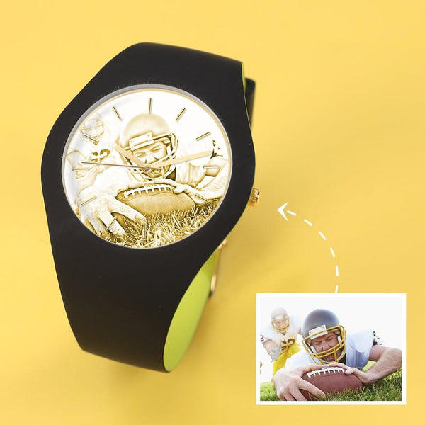 Silicone Engraved Photo Watch My Best Friend 41mm Black And Green Strap-Golden