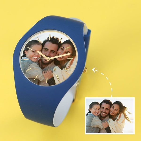Engraved Photo Watch - My Dad Waterproof Silicone 41mm Blue And White Bands