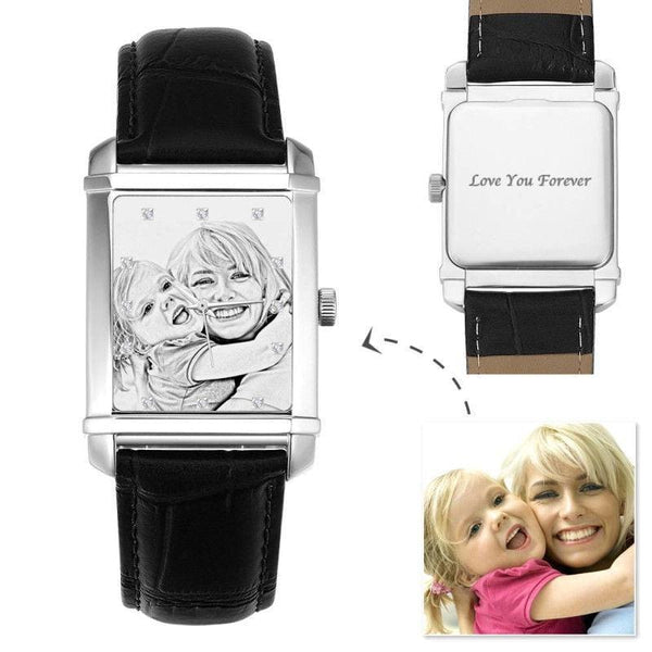 Rectangle Dial Engraved Photo Watch Sweet Family 40*33mm Black Leather Strap - Sketch