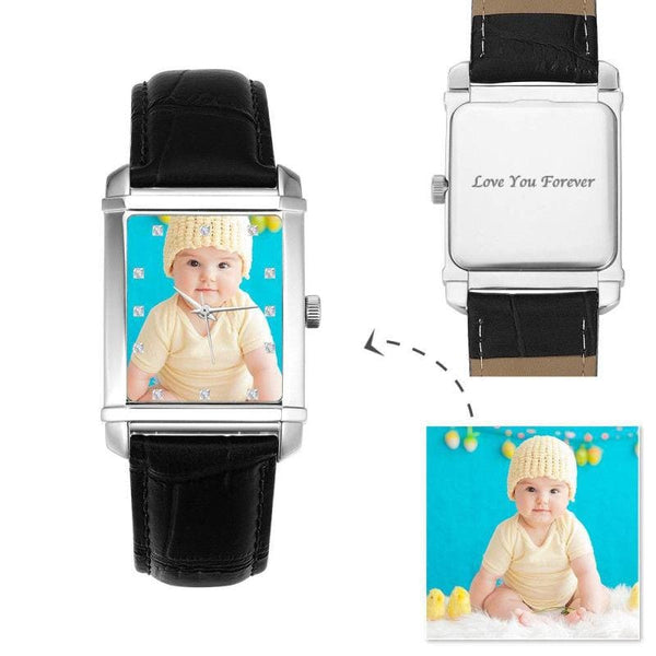 Rectangle dial Women'sPhoto Watch Cute Baby 36.5*30mm Black Leather Strap