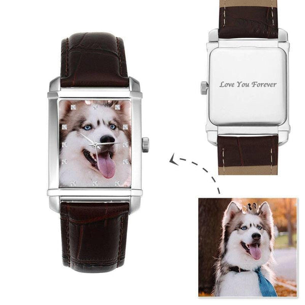 Rectangle Dial Photo Watch My Pet 36.5*30mm Brown Leather Strap