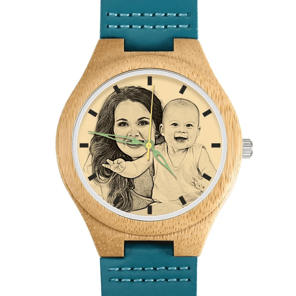 Women's Photo Watch Mom And Baby Blue Leather Strap - Bamboo