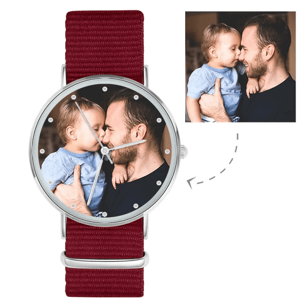Ladies Watch Custom Photo Watch With Black Red Blue Strap-Silver pointer