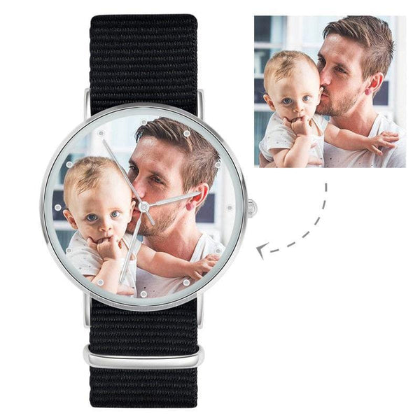 Father's Day Gifts - Personalized Engraved Watch, Custom Your Own Photo Watch With Black Strap
