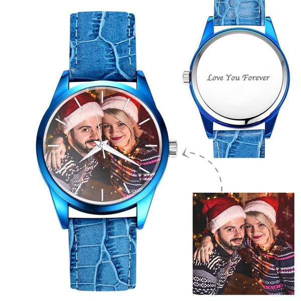 Personalized Photo Watch Engraved Watch With Red Or Blue Leather Strap Men's-Gift For Boyfriend