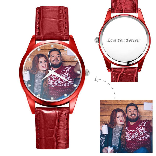 Personalized Photo Watch Engraved Watch With Red Or Blue Leather Strap Women's-Gift For Girlfriend