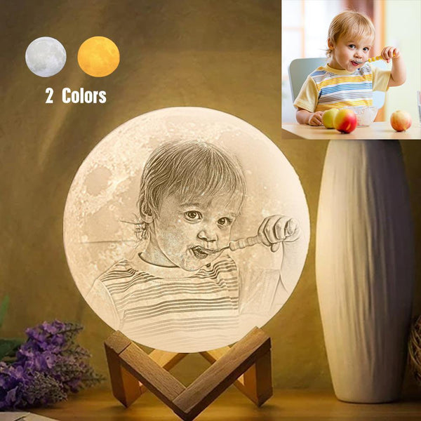 Personalized Creative 3D Print photo Moon Lamp, Engraved Lamp, Gift For Baby - Touch Two Colors