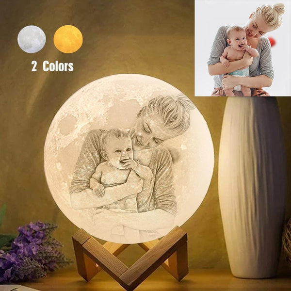 Personalized Creative 3D Print photo Moon Lamp, Engraved Lamp, Gift For Family - Touch Two Colors