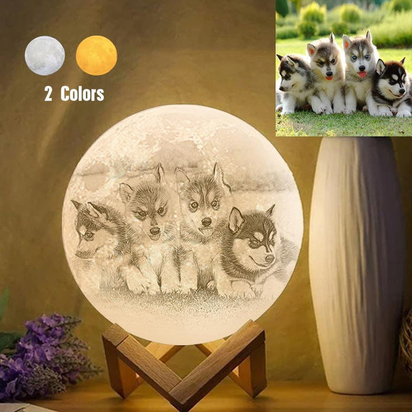 Personalized Creative 3D Print photo Moon Lamp, Lovely Pet Engraved Lamp - Touch Two Colors