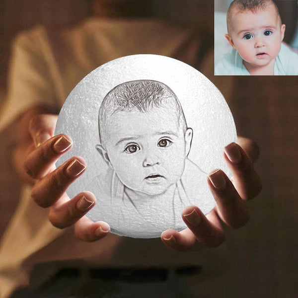 Magic 3D Printing Moon Light Photo Engraved, Baby Gift - Touch Two Colors 10-20cm