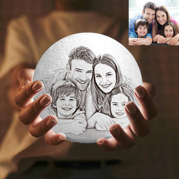 3D Printing Moon Light Photo Engraved, Memorial Gift - Touch Two Colors 10-20cm