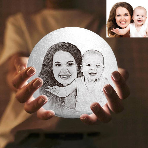 Magic 3D Printing Moon Light Photo Engraved, For Mom - Touch Two Colors 10-20cm