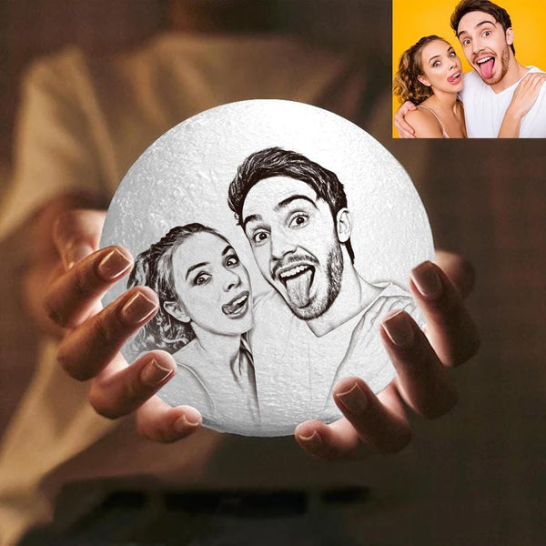 Magic 3D Printing Moon Light Photo Engraved Anniversary Gift For Love - Touch Two Colors 10-20cm