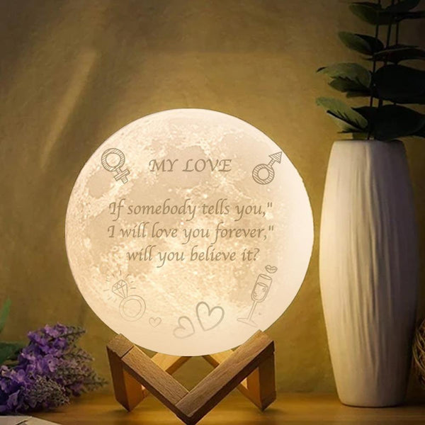 3D Moon Lamp for Girlfriend Engraved Moon Lamp - Touch Two Colors 15cm-20cm Available