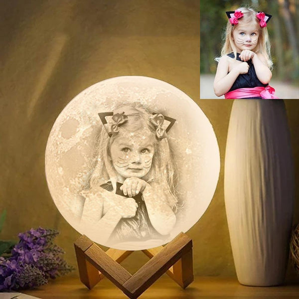 Custom Photo Engraved 3D Printing Moon Lamp, Creative Idea For Baby - Tap Three Colors