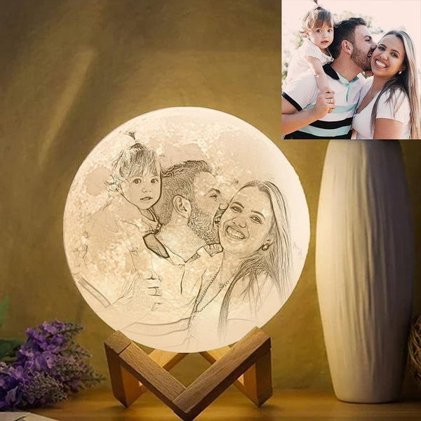 Custom Photo Engraved 3D Printing Moon Lamp, Creative Idea For Family - Tap Three Colors