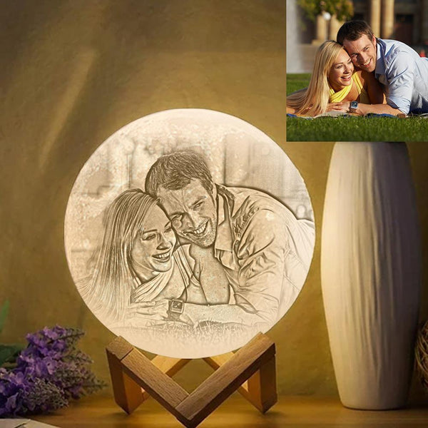 Custom Photo Engraved 3D Printing Moon Lamp, Creative Idea For Lover - Tap Three Colors