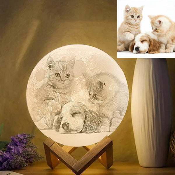 Custom Pet Photo Engraved 3D Printing Moon Lamp, Creative Idea Gift - Tap Three Colors