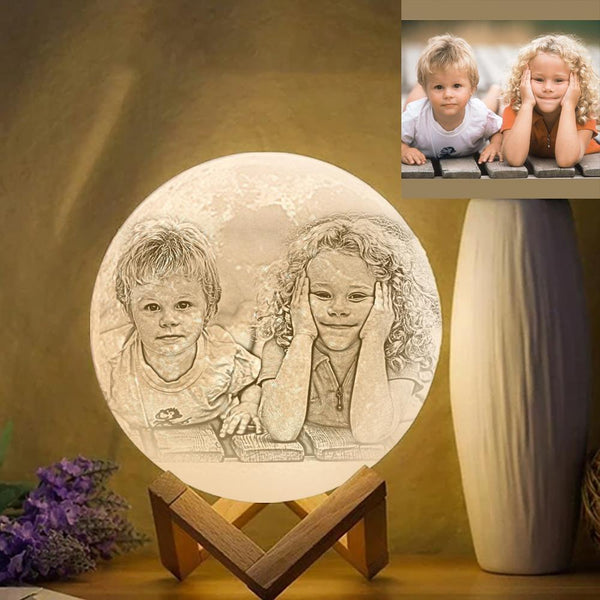 Custom Photo Engraved 3D Printing Moon Lamp, Creative Idea For Friend - Tap Three Colors