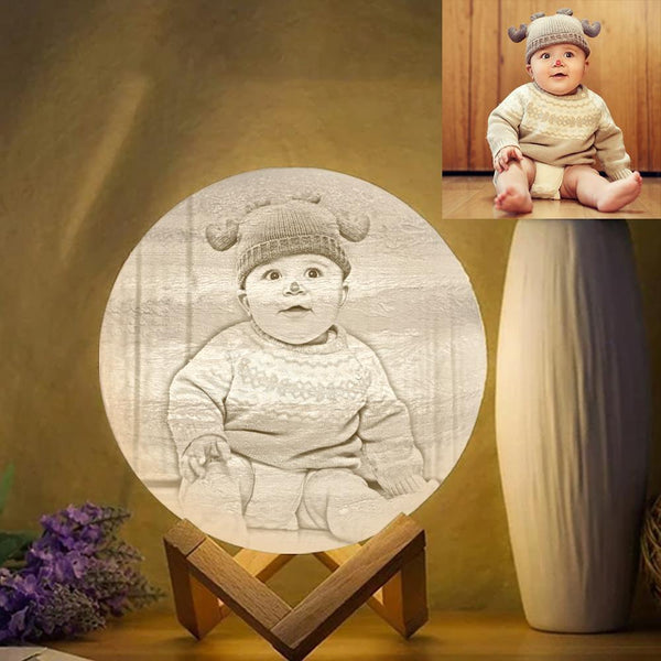 3D Printed Jupiter Lamp Personalized Cute Baby - Touch Three Colors (10-20cm)