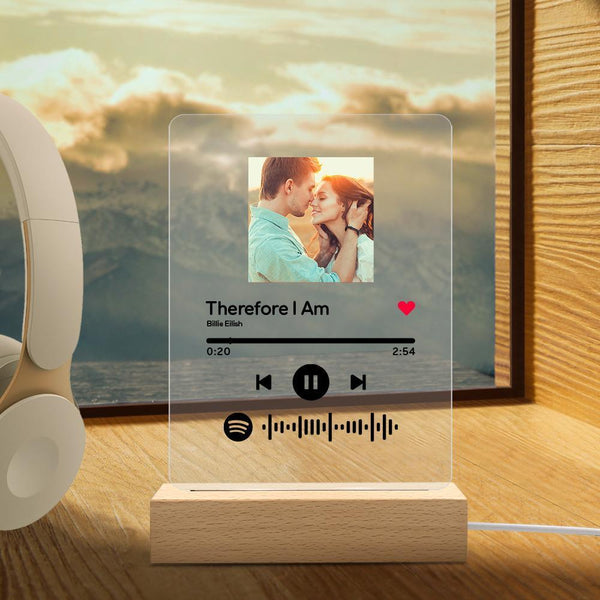 Spotify Glass Picture Night Light for Lover Personalized Spotify Gift