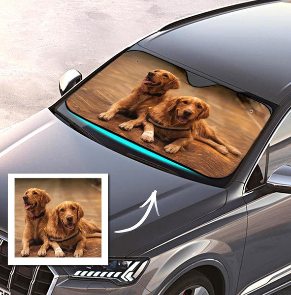 Custom Photo Sun Shade Windshield Car Accessories UV Protective Cute Pet