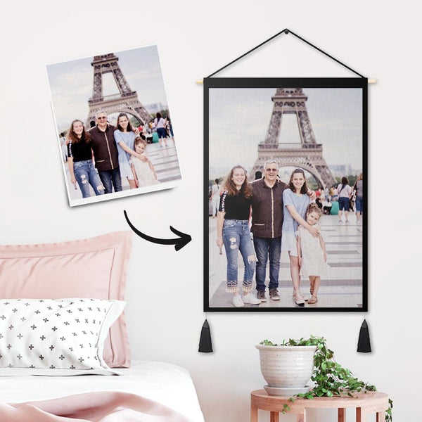 Custom Sweet Family Photo Tapestry - Wall Decor Hanging Fabric Painting Hanger Frame Poster