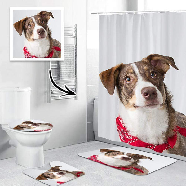 Photo Shower Curtain Bathroom Rug Set Personalized Bathroom Decor