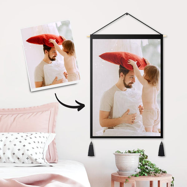 Custom Loved Dad Photo Tapestry - Wall Decor Hanging Fabric Painting Hanger Frame Poster