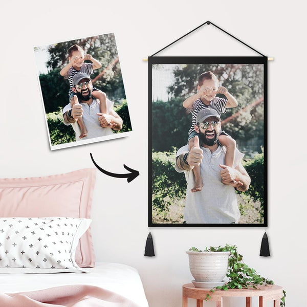 Custom Super Father Photo Tapestry - Wall Decor Hanging Fabric Painting Hanger Frame Poster