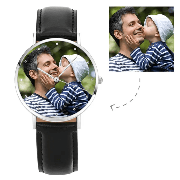 Engraved Photo Watch Black Leather Strap for Men & Women