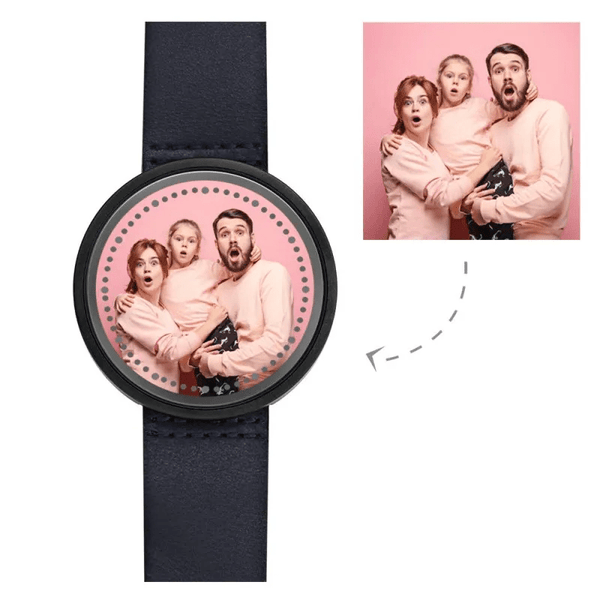 Personalized Photo Watch Touch Illuminated Watch LED Blue Leather Strap