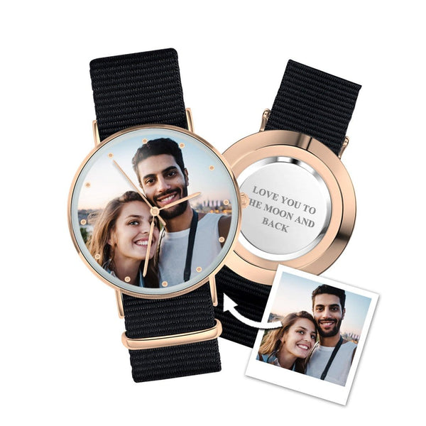 Ladies Watch Personalized Photo Watch With Black Red Blue Strap Birthday Gift