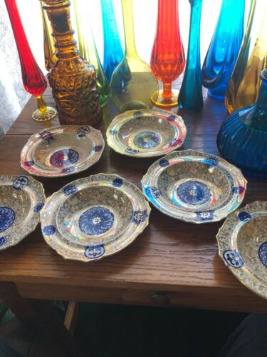 Vintage Flow Blue Set Of 6 Bowls Gold Trim Floral Fantastic Patina Great Look