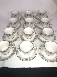 Noritake Ivory China 7237 Adagio Fantastic Condition 12 Cups & Saucers