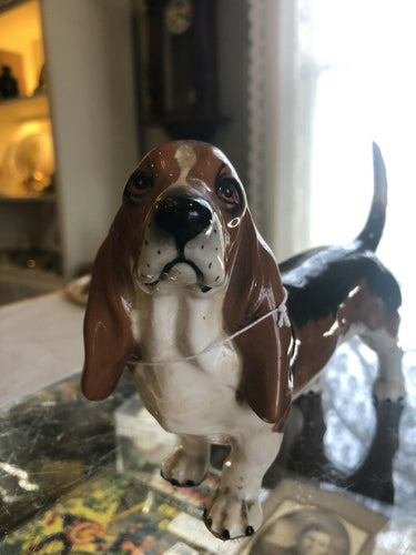 Vintage Shafford Basset Hound Dog Figurine Brown & Black Porcelain 8