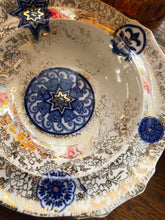 Load image into Gallery viewer, Vintage Flow Blue Set Of 6 Bowls Gold Trim Floral Fantastic Patina Great Look