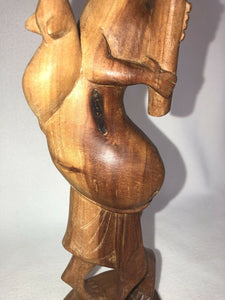 "Vintage Wooden Hand Carved Woman Figure Playing Instrument With Rat 14.25"" Tall"