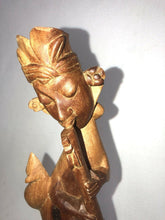 "Load image into Gallery viewer, Vintage Wooden Hand Carved Woman Figure Playing Instrument With Rat 14.25"" Tall"