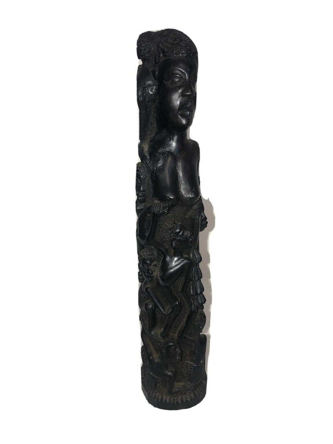 "African Carving Ujamaa ""Tree of Life"" Makonde Tanzania 60s 15"" Tall 3.25"" Base"