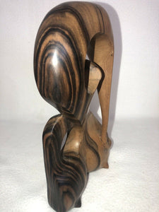 "Gorgeous Hand Carved African Hardwood Carving 10.25"" MCM Eames Era Beautiful"