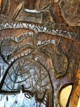 Load image into Gallery viewer, East African Tribal Birthing Chair Hand Carved Rhino/Elephant Motif