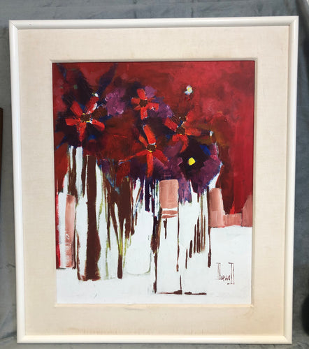 Mid Century Abstract Artist Durand Oil On Board Signed