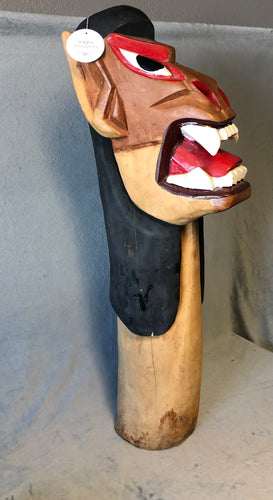 "Fierce Brazilian Carranca Figurehead Hand Carved Wooden Protector 36"" Original Paint"
