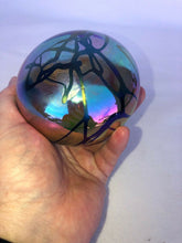 Load image into Gallery viewer, Gary Levay Signed Iradescent Hand-Blown Art Glass Paperweight Round Purple Wow