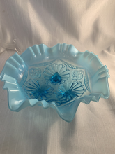 Load image into Gallery viewer, Sky Blue Fenton Opalescent Flower Bowl Gift Perfect Free Shipping Gorgeous