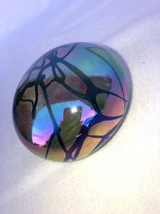 Gary Levay Signed Iradescent Hand-Blown Art Glass Paperweight Round Purple Wow